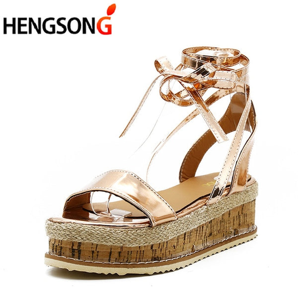 4b05d62ed26 Summer White Wedge Espadrilles Women Sandals Open Toe Gladiator Sandals  Women Casual Lace Up Women Platform Sandals