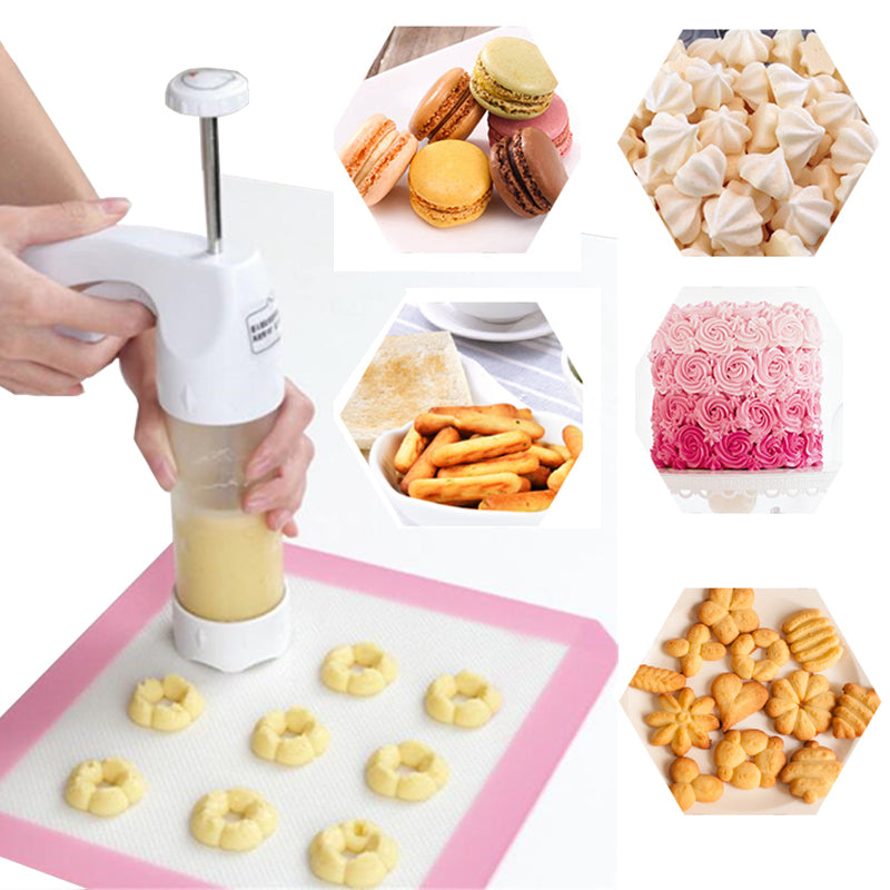 DIY Cookie Cutter Mold Press With 12 Flower Mold + 6 Pastry Tips