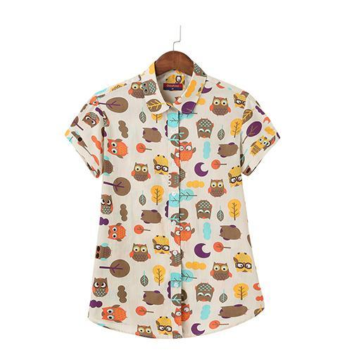 What a Hoot Short Sleeve Owl Print Cotton Womens Blouse