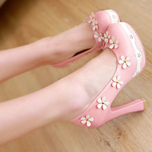Eleanor Sweet Retro High Heel Pumps with Flower Applique 3 Colors