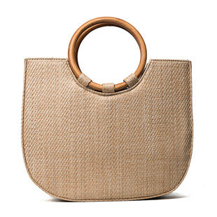 Jasmine Large Retro Straw Beach Bucket Tote Bag 2 Colors