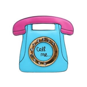 Call Me Cute Retro Telephone Square Handbag with Shoulder Strap 4 Colors