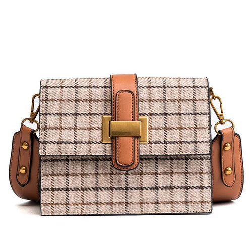Deborah Wool Plaid Box Purse with Strap 3 Colors