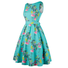 Pink Flamingo Cocktail Dress on Turquoise Blue Retro 50s
