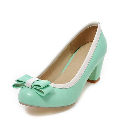 Mabel Sweet Retro Mid Rise Heel Pumps 5 Colors