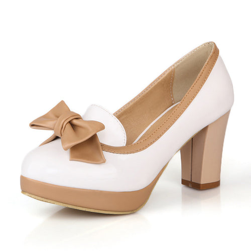 Betty Retro Platform Bow Round Toe Pumps with Square Heel Nude White Black