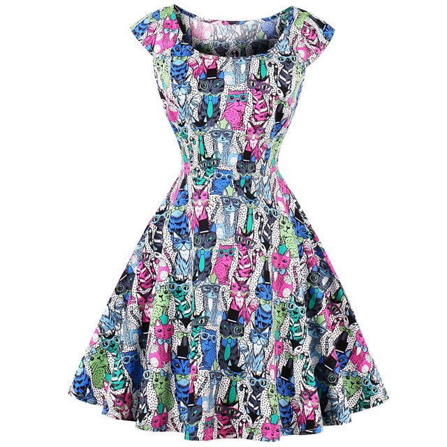 Cool For Cats Printed Retro Skater Dress