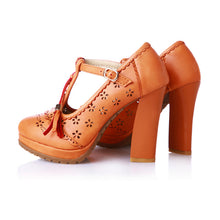 Greta Tassel T-strap Eyelet Platform Pumps Chunky Heel Shoes 4 Colors