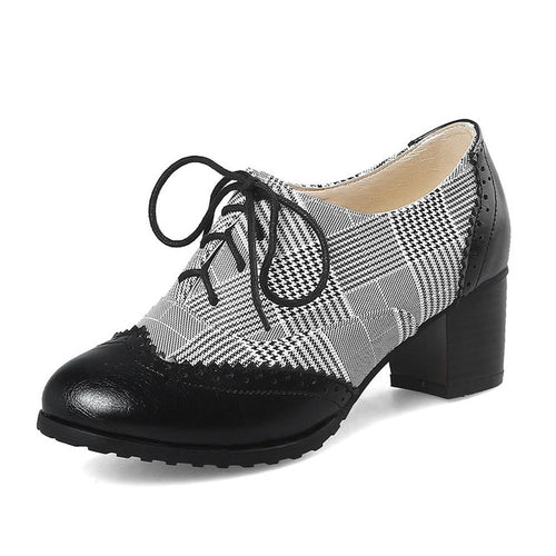 Agatha Lace-Up Wingtip Oxford Shoes with Square Heel Brown or Black