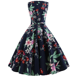 Madge Floral Print Retro Summer Sleeveless 60s Dress