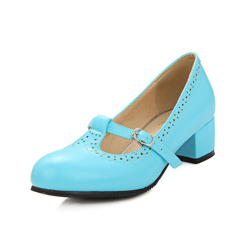 Charloette Eyelet T-Strap Mary Jane Shoes with Square Heel 4 Colors