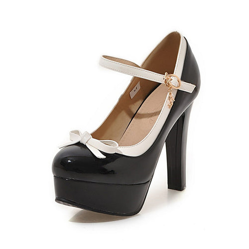 Sandra Sweetheart Platform Heels Buckle Strap Shoes with Bow 4 Colors
