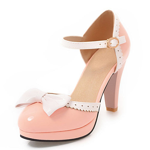 Anais Retro Platform High Heel Shoes with Bow Sandal 4 Colors