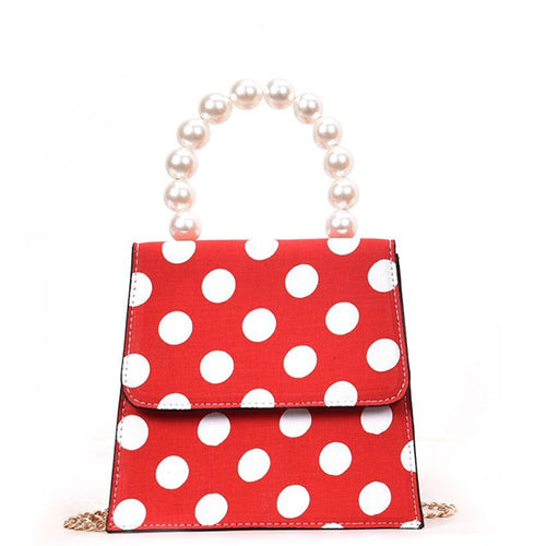 Poppy Polkadot Handbag with Pearl Bead Handle and Crossbody Strap 4 Colors
