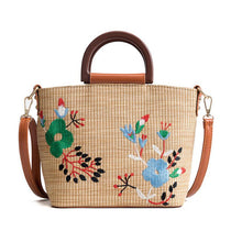 Sophia Embroidered Straw Bag with Handle and Crossbody Strap