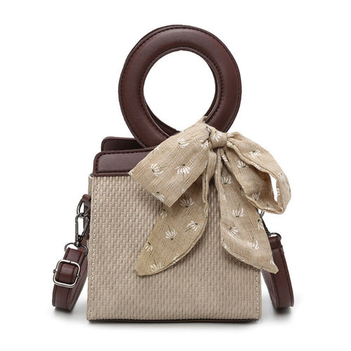 Ida Straw Handbag with Bow Accent and Crossbody Strap 4 Colors