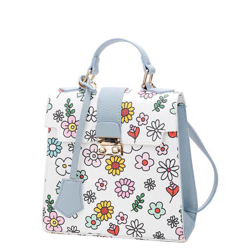 Blossom Bright Retro Floral Handbag with Crossbody Strap 3 Colors
