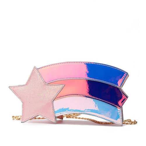 Wish Upon A Star Sweet Retro Rainbow Glitter Purse