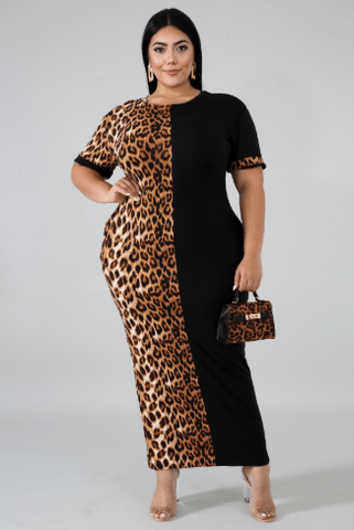 Hang Out Leopard Print Plus Size Dress