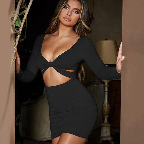 """Leave Them Guessing"" Mini Draped Dress"