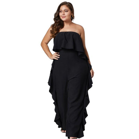 Start To Finish Ruffle Tube Plus Size Jumpsuit
