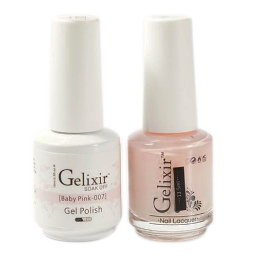 Gelixir Nail Lacquer And Gel Polish, 007, Baby Pink, 0.5oz