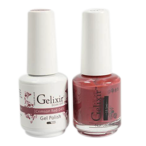 Gelixir Nail Lacquer And Gel Polish, 049, Crimson Red, 0.5oz