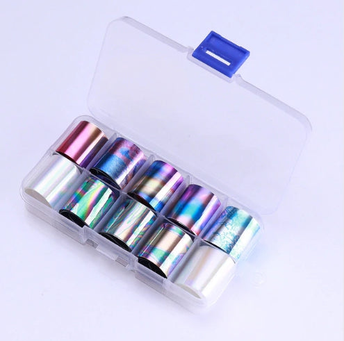 Foil Nail Art Transfer Decoration 10 Rolls Set 2.5*100cm, 02
