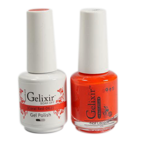 Gelixir Nail Lacquer And Gel Polish, 062, Coral Red, 0.5oz ...