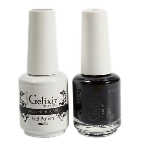 Gelixir Nail Lacquer And Gel Polish, 089, Black Night, 0.5oz