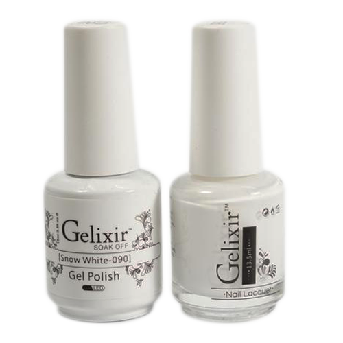 Gelixir Nail Lacquer And Gel Polish, 090, Snow White, 0.5oz