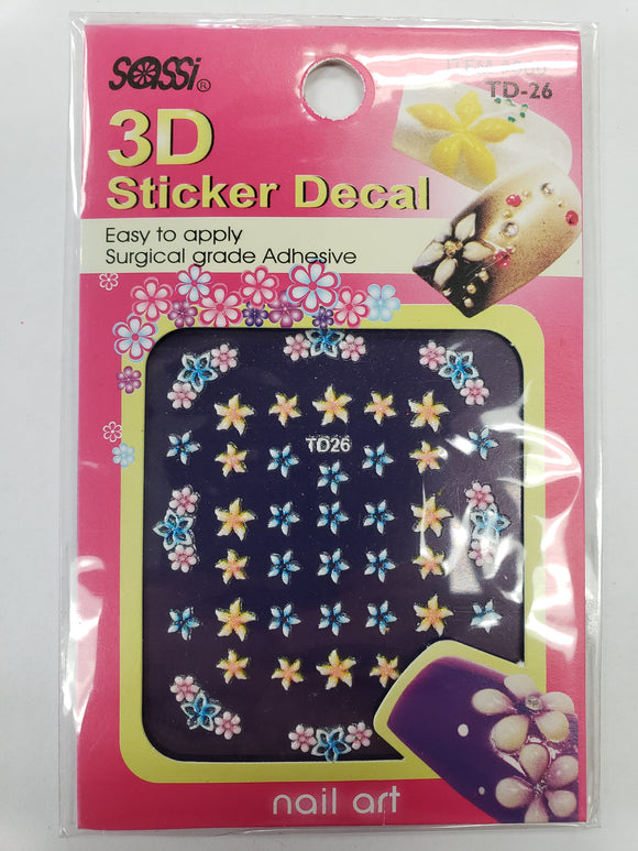 SASSI 3D Sticker Decal Flower Nail Art TD-26