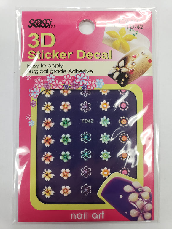 SASSI 3D Sticker Decal Flower Nail Art TD-42
