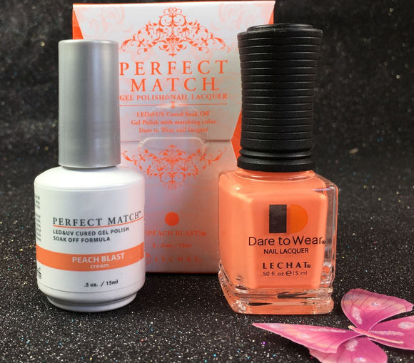 LeChat Perfect Match Nail Lacquer And Gel Polish, PMS202, Retro Collection, Peach Blast, 0.5oz