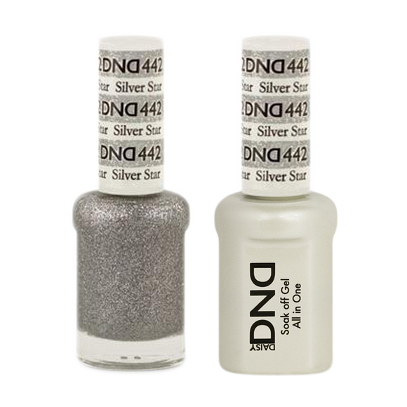 DND Nail Lacquer And Gel Polish, 442, Silver Star, 0.5oz