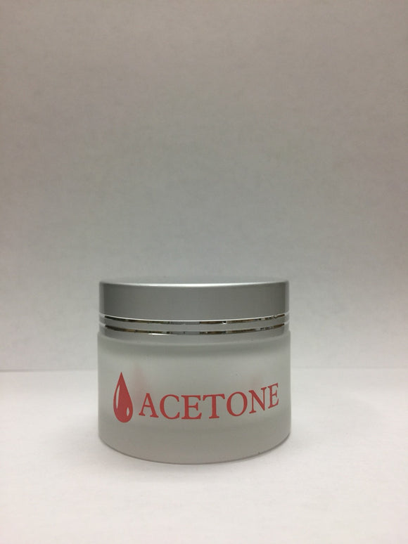 Acetone Printed Cream Frosted Jar + Silver Lid 4mL