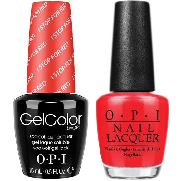 OPI GelColor And Nail Lacquer, A74, I Stop For Red, 0.5oz