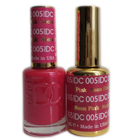 DC Nail Lacquer And Gel Polish (New DND), DC005, Neon Pink, 0.6oz