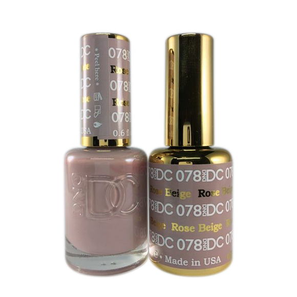 DC Nail Lacquer And Gel Polish (New DND), DC078, Rose Beige, 0.6oz