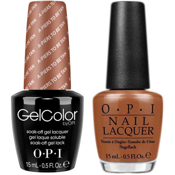 OPI GelColor And Nail Lacquer, F53, A Piers To Be Tan, 0.5oz