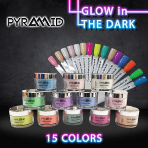 Pyramid Dipping Powder 2oz, Glow In The Dark Collection, Full Line Of 15 Colors (From Glow 01-Glow 15)