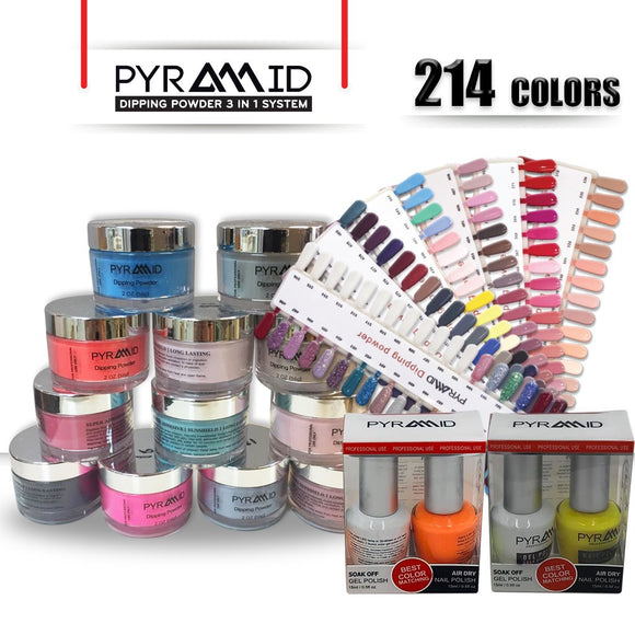 Pyramid 3IN1 Dipping Powder + Duo, Full Line Of 214 Colors (From 301 To 504 & NE41 To NE50)