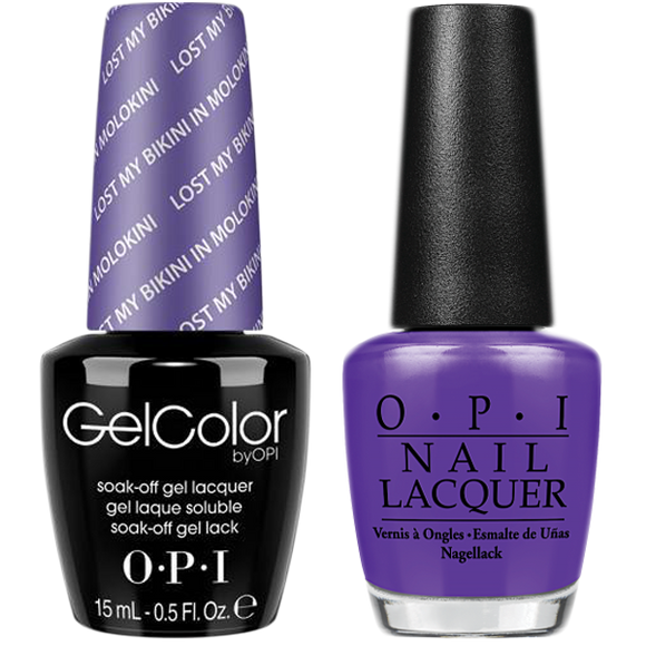 OPI GelColor And Nail Lacquer, H75, Lost My Bikini In Molokini, 0.5oz