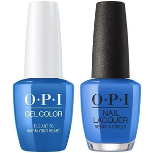OPI GelColor And Nail Lacquer, Lisbon Collection, L25, Tile Art to Warm Your Heart, 0.5oz