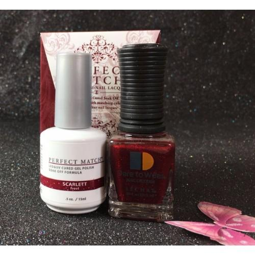 LeChat Perfect Match Nail Lacquer And Gel Polish, PMS192, Scarlett, 0.5oz
