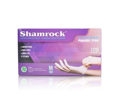 Shamrock Powder Free Latex Gloves, Size M