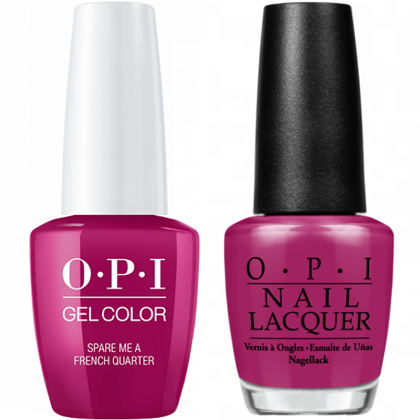OPI GelColor And Nail Lacquer, N55, Spare Me a French Quarter?, 0.5oz