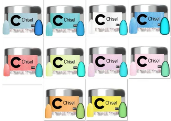 Chisel Dipping Powder, Glow In The Dark Collection,Full Line  10 Colors