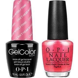 OPI GelColor And Nail Lacquer, A72, Can't Hear Myself Pink!, 0.5oz
