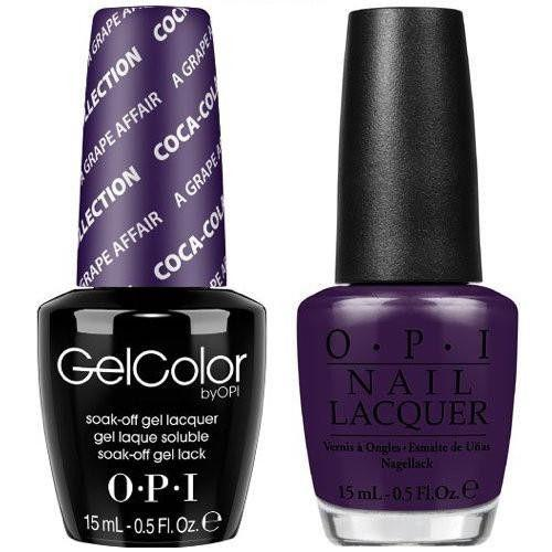 OPI GelColor And Nail Lacquer, C19, A Grape Affair, 0.5oz